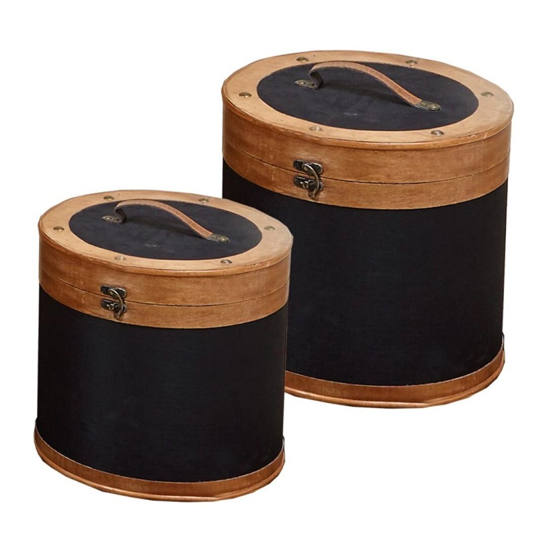 Caixa redonda preto/madeira grande