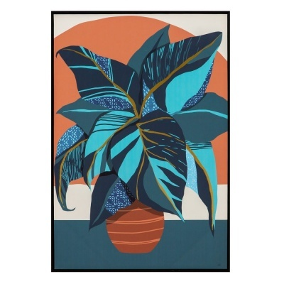 Quadro tela com moldura jarra flores estilizado azul e terracota