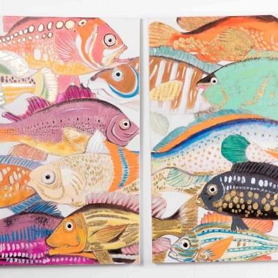 Conjunto 2 quadros Peixes