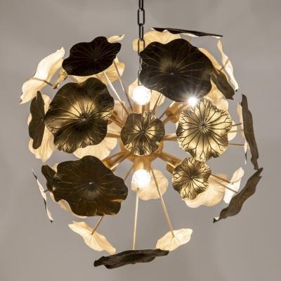 Candeeiro de teto flores em metal dourado 67X67X67 CM