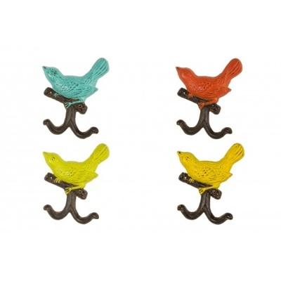 Cabide de Parede ferro passarinho cores 2 Ganchos