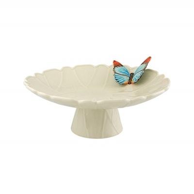 Bordallo Pinheiro - Cloudy Butterflies - Prato com Pé 39 - Claudia Schiffer