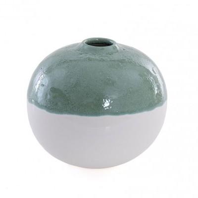 Jarra formato bola cerâmica Pequena verde água  15X15X13 CM
