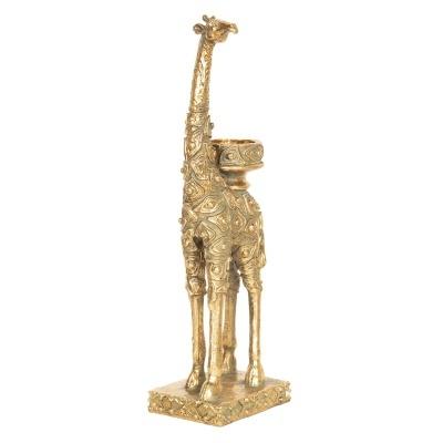 Castiçal Girafa dourado   10*8*33 cm