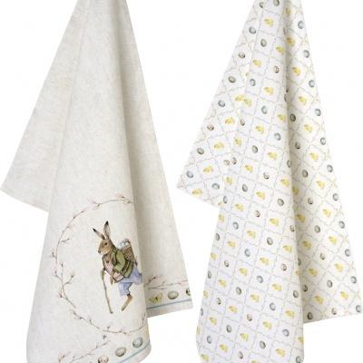 Conjunto 2 panos de loiça ou tea towel -coelho e ovos