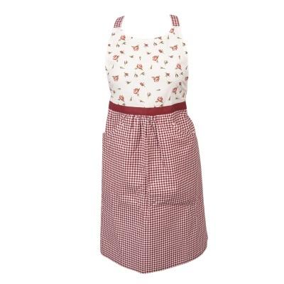 Avental rosinhas e quadradinhos com bolsos laterais