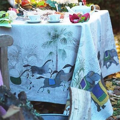 Toalha de mesa Tessitura 100% linho Cavalos e elefantes