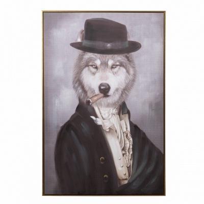 Quadro tela Lobo gentleman 80x120