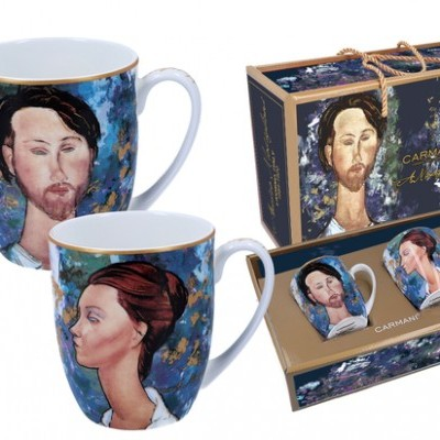 Mestres da Pintura - A. Modigliani - A mulher de chapéu e Mario Varvogli - Conj. 2 canecas