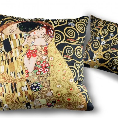 Mestres da pintura-Klimt ,O beijo almofada 45x45cms