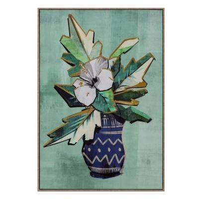Quadro tela com moldura jarra flores estilizado verde agua