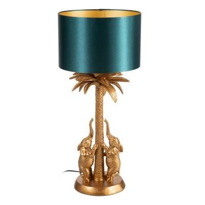 Candeeiro de mesa dourado Elefantes com abatjour