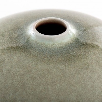 Jarra formato bola cerâmica Pequena 2 tons  15X15X13 CM