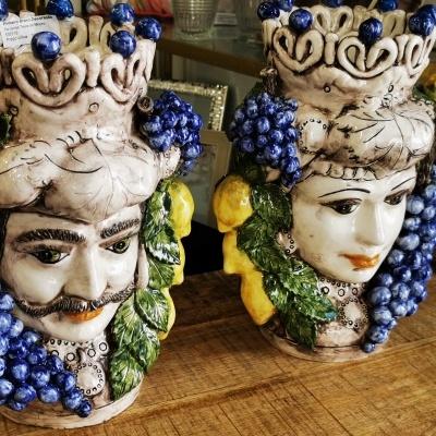 Par de Jarras testas de Mouro - artesanato da Sicilia