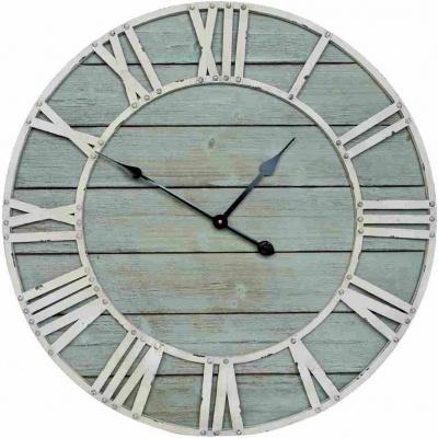 Relogio metal e madeira 70cms tom azulado