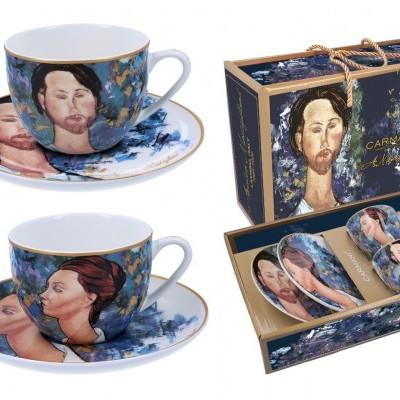 Mestres da Pintura - A. Modigliani - A mulher de chapéu e Mario Varvogli - Conj. 2 chavenas