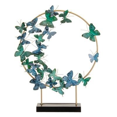 Peça em metal decorativa de mesa com Borboletas 53 X 9,50 X 62 CM