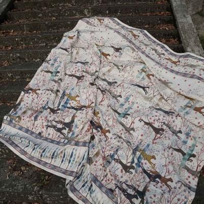 Tessitura Colcha/mural/cobertura 100%linho ,leopardos 2.70x2.80mts