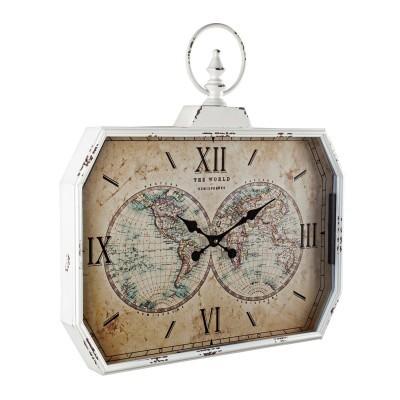 Relógio rectangular com mapa mundo