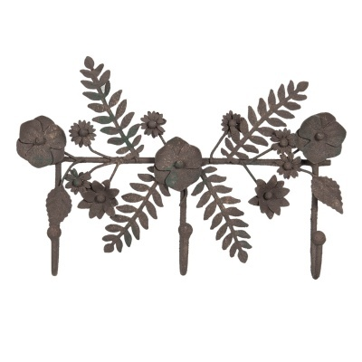 Cabide ferro flores e fetos 3 ganchos