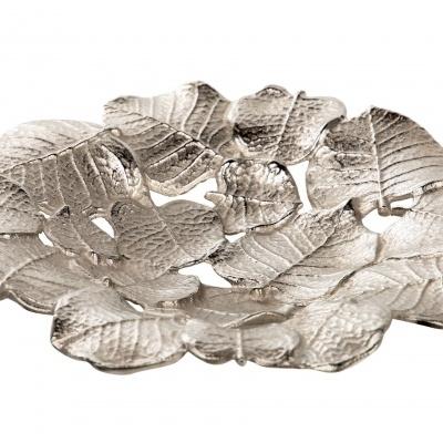 Centro de mesa folhas metal dourado ou prateado 30x30x5