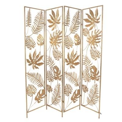 Biombo metal folhas douradas