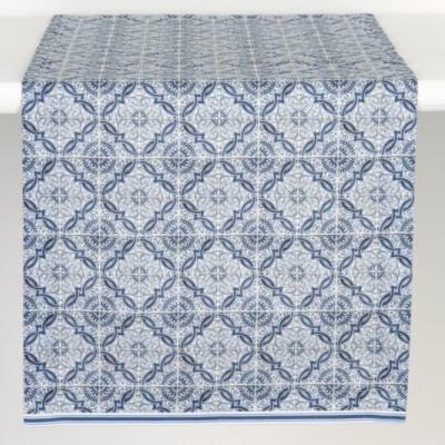 IHR- Runner , caminho de mesa azul azulejo