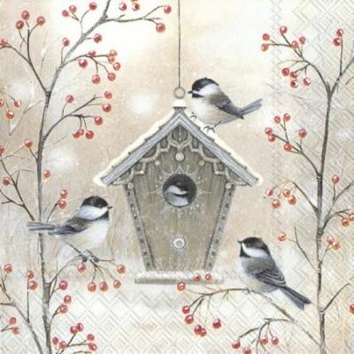 Guardanapos de papel Casinha passarinho neve
