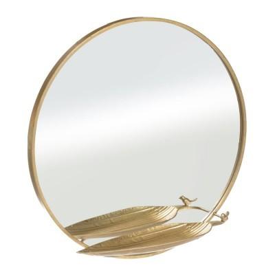 Espelho dourado redondo prateleira folha com passarinho