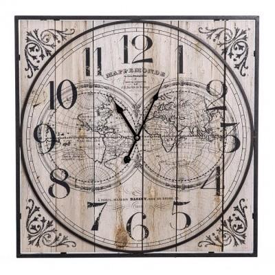 Relógio quadrado de Parede Mapa Mundo