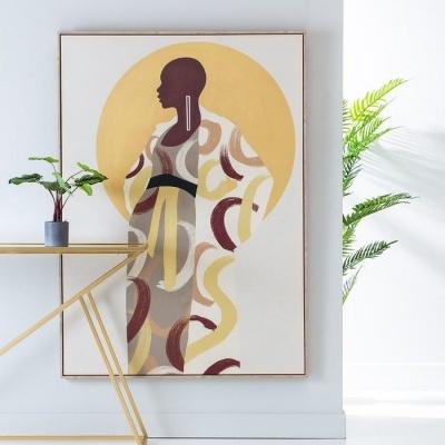 Quadro Tela figura Africana 100 X 4 X 140 CM