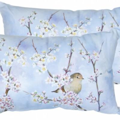 Almofada rectangular harmonia passarinho e flores