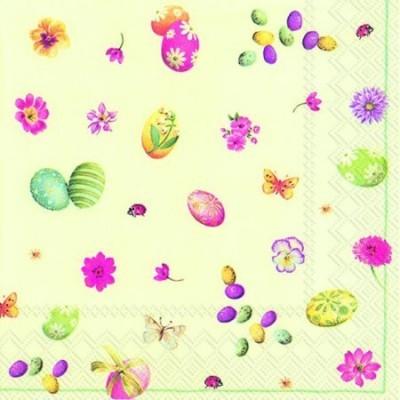 Guardanapos de papel ovos de Páscoa e flores