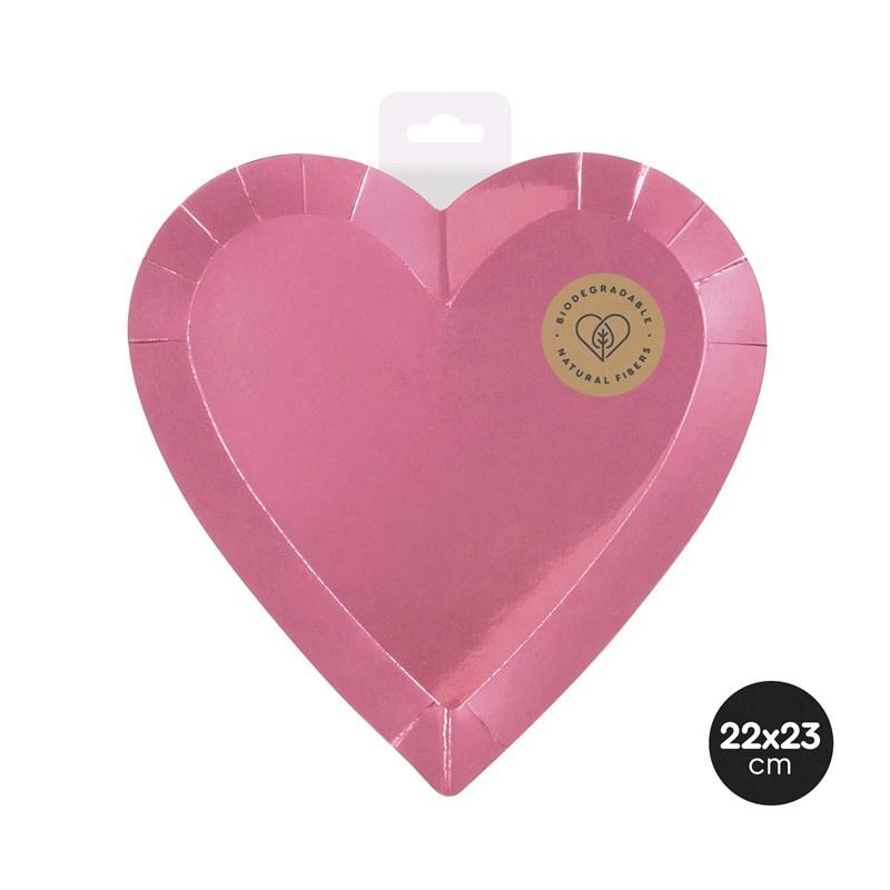 Pratos coração rosa metálico
