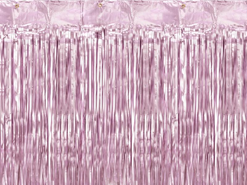 Cortina franjas rosa