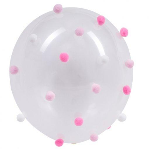 Balões latex com pompons rosa