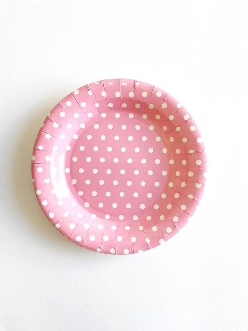 Pratos rosa dots