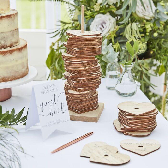 Corações de madeira - mensagens dos convidados