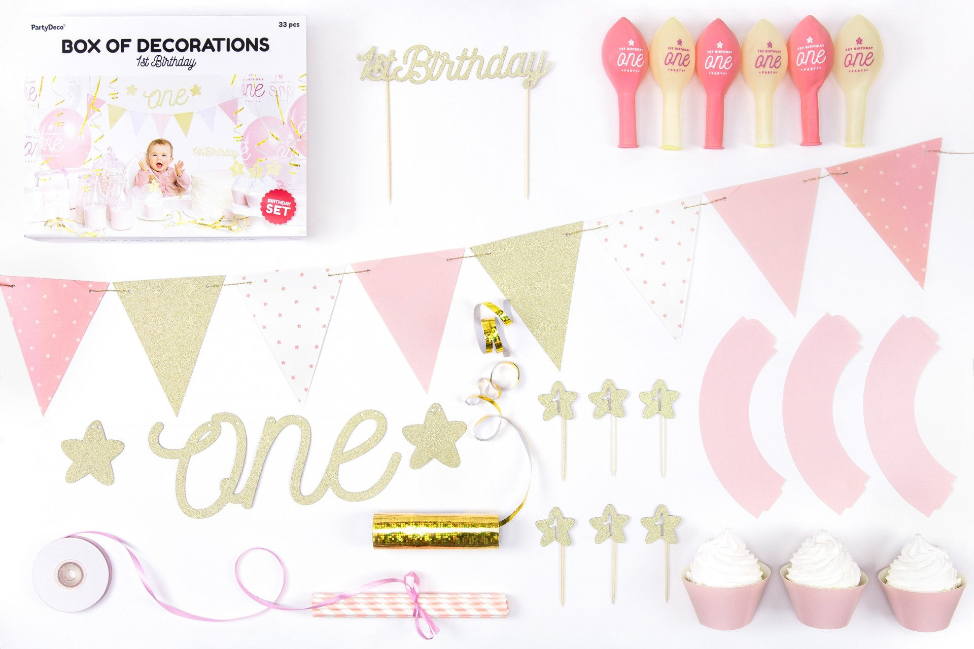 Party box primeiro aniversário rosa
