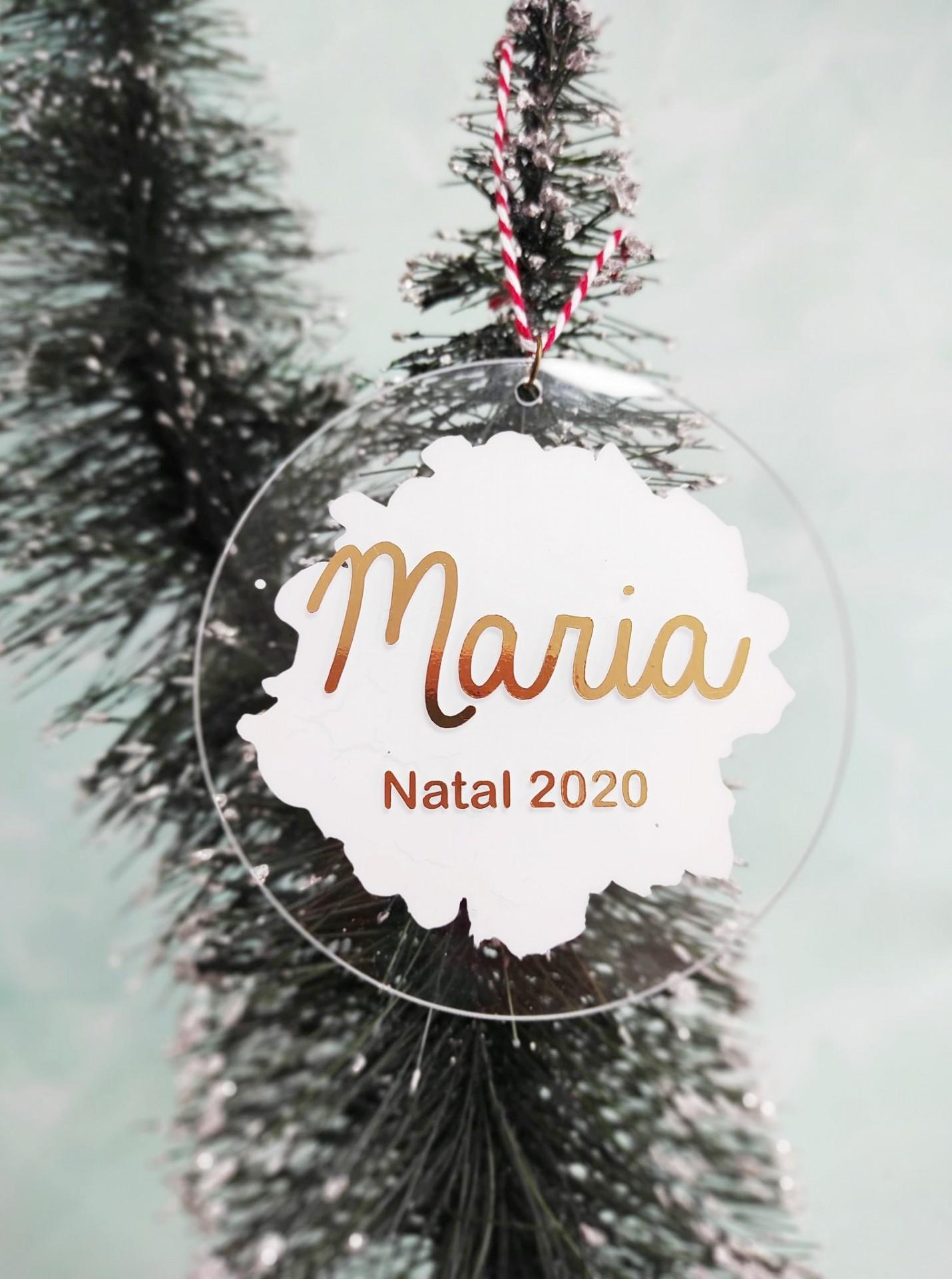 Bola Natal acrílico branco personalizada