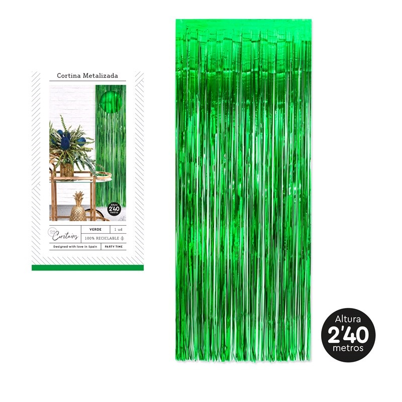Cortina metalizada verde