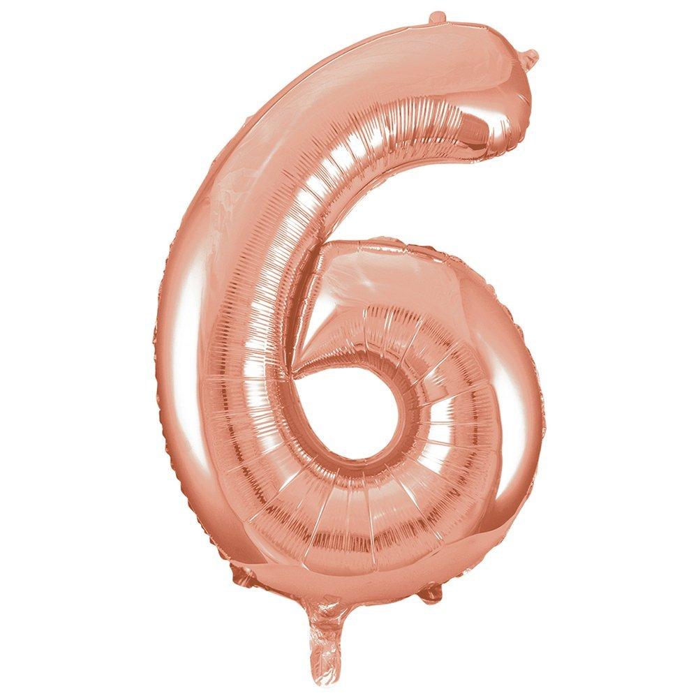 Balão numero 6 rose gold