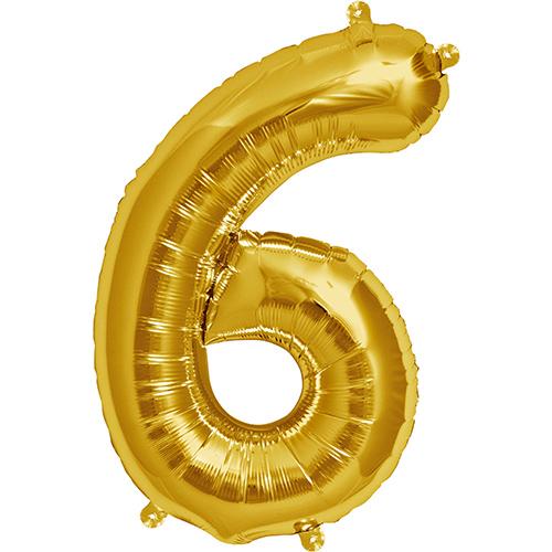 Balão numero 6 dourado
