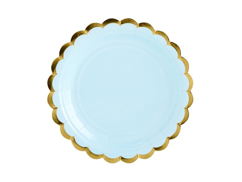 Pratos azul e dourado