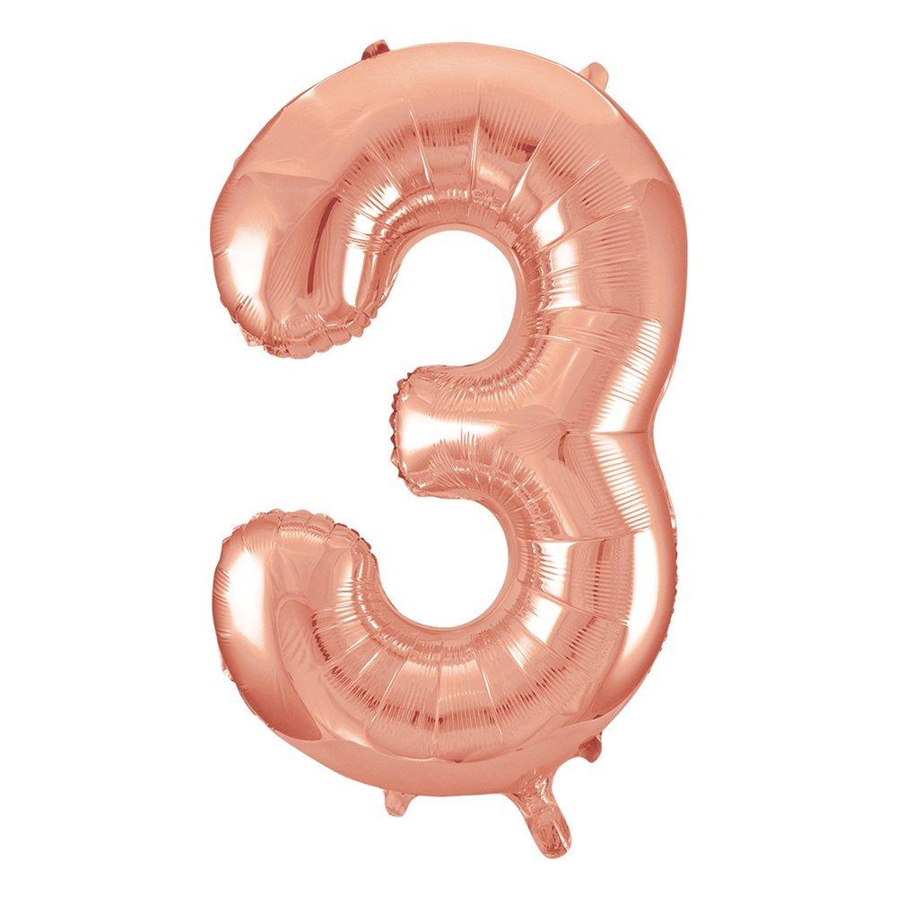 Balão numero 3 rose gold