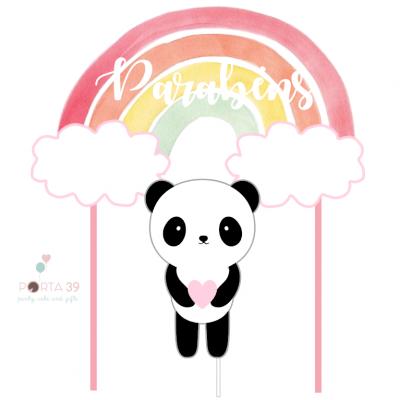 Cake topper panda arco-íris