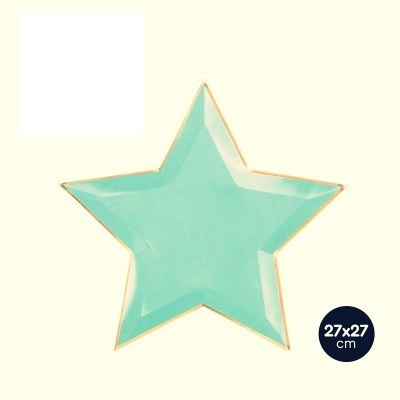 Pratos estrela verde menta