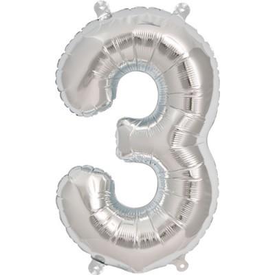 Balão numero 3 prata