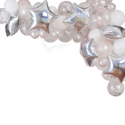Arco balões estrelas prata