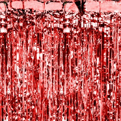 Cortina franjas vermelha